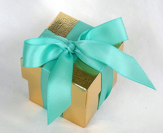 Aqua Wedding Favor Boxes : Items similar to favor boxes gold or silver metallic n