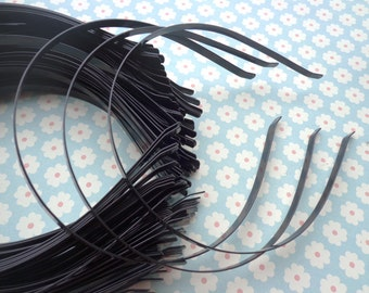 plain Black colored iron metal headband - 30 pcs 6mm