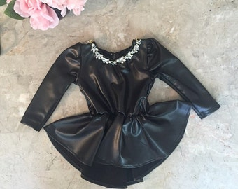 Black Faux Leather Girls Peplum Top with Removed Jeweled neckline - Children - Peplum Top with Long Sleeves by Isabella Couture