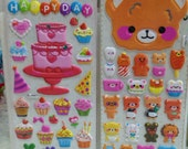 Japanese / Korean Puffy Sticker (Pick 1) Happy Birthday Or Big Bear
