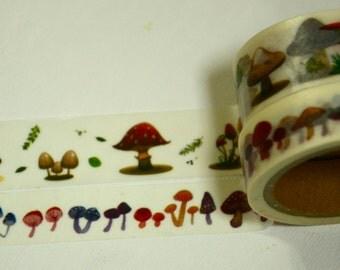 2 Rolls Japanese Washi Masking Paper Tape-  Wild Mushroom