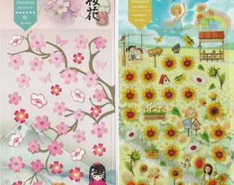 Japanese / Korean Stickers (Pick 1) - Sakura Or Sunflower
