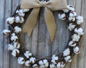 "23"" Cotton Branch Grapevine Wreath with Burlap Bow"