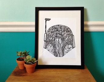 Boba Fett Helmet Art Print