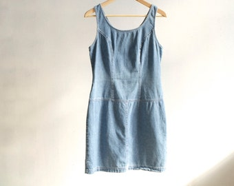 DENIM dress blue jean CLUELESS faded jean dress romper women's vintage 90s mid 90s vintage