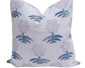 Ready to Ship - Virginia Kraft Marigold Hand Printed Pillow Cover - Denim/Lavender