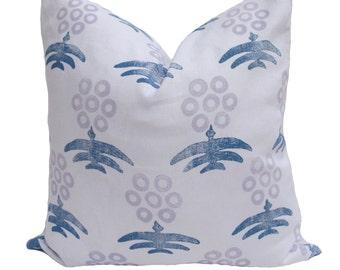 CLOSEOUT Ready to Ship - Virginia Kraft Marigold Hand Printed Pillow Cover - Denim/Lavender