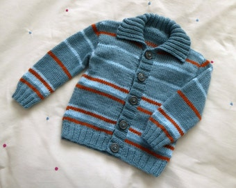 Baby boy cardigan, teal handknitted sweater with stripes - size 12 months