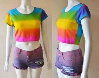 CHEERY RAINBOW colorful vibrant yellow pink blue purple stretchy crop top tank tee t shirt