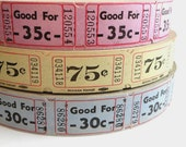 50 Vintage Carnival Tickets - Pick Your Combo - Violet, Mint Green, Pale Blue Raffle Tickets - Small Paper Ephemera