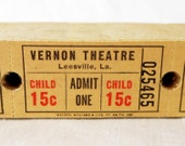Yellow Vintage Theatre Tickets in Sets of 12 or 25  - Old 15-cent Children's Movie Theater Tickets - Vernon Theatre, Leesville, LA