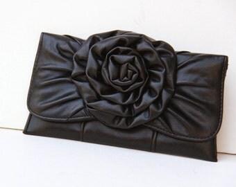 Black Clutch with Flower - Black Wedding Evening  Bag Clutch Purse -  Vegan Leather Clutch - Vintage Shoulder Bag