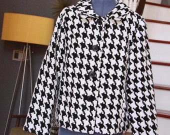 Houndstooth Jacket - Vintage Black and White Hounds Tooth Coat - Vintage