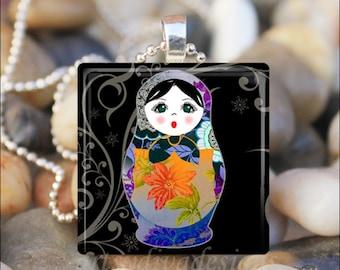 RUSSIAN NESTING DOLL Matryoshka Babushka Russian Stacking Dolls Glass Tile Pendant Necklace Keyring - Design 7