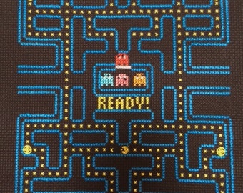PacMan Video Game Cross Stitch And Backstitch Pattern, Pattern Only