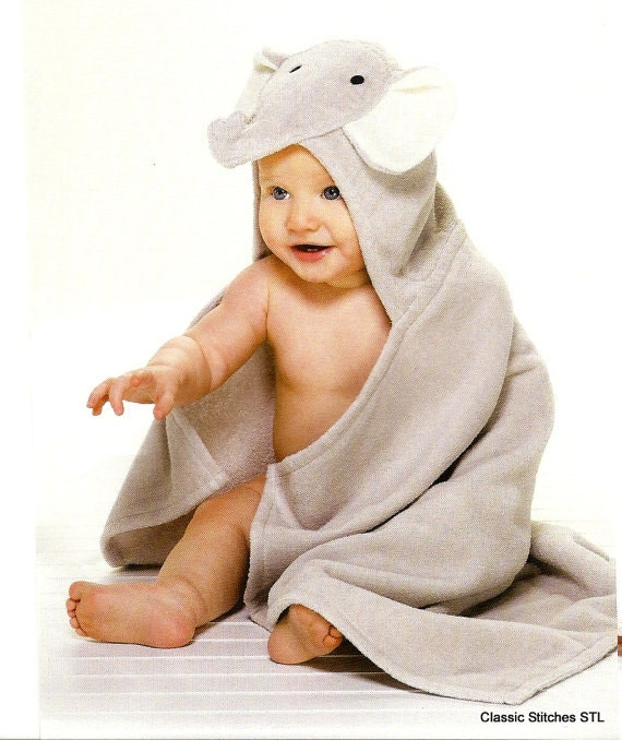 Personalized Baby Hooded Towel Elephant