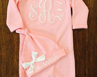 New born girl take home Outfit- Monogram Layette Gown - Layette Gown and Personalized Hat New Baby Girl Gift