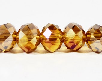 Rondelle Crystal Beads 6x4mm (4x6mm) Deep Topaz Yellow AB Faceted Chinese Crystal Glass Beads on an 8 3/4 Inch Strand with 50 Beads