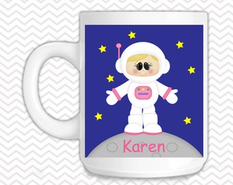 Space Astronaut Girl Kids Mug - Personalized Astronaut Mug - Customized Mug - Melamine Cup - Personalized Kids cup
