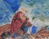 Cowboy Enjoying His First Cup, digital copy of my painting, western decor, cowboy decor, fine art digital painting