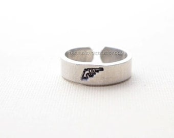 Revolver Hand Stamped Gun Ring READY TO SHIP