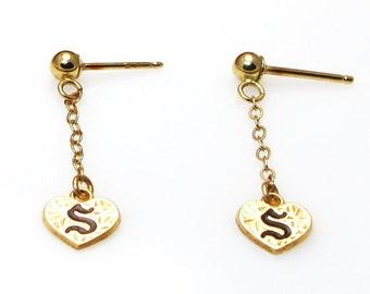 14K Yellow Gold and Black Enamel Dangly Heart Earrings - Monographed with Letter S - Monogram - Pierced Earrings # 4097