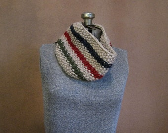 Chunky Knit Cowl, Striped Knit Cowl