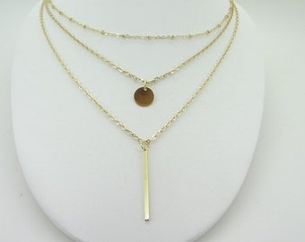Gold plate 3 layer Metal bar disc Collarbone chain necklace