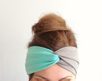 bicolor headband mint beige turban headband twist cute hair bands Jersey head wrap stretch turband summer hair accessories