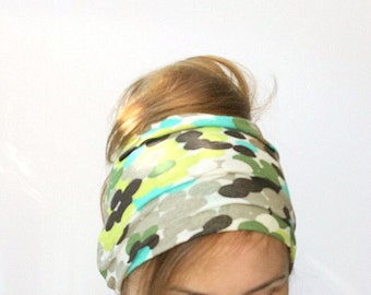 Extra Wide headband namaste yoga head covering womens headband head wrap jersey hair band helmet beanie colorful dots green