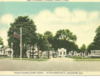 Postcard St Augustine FLORIDA Palms Tourist Court Motel Retro Linen Color  Post card