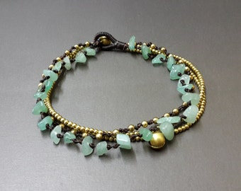 Chip Jade Brass Chain Bracelet