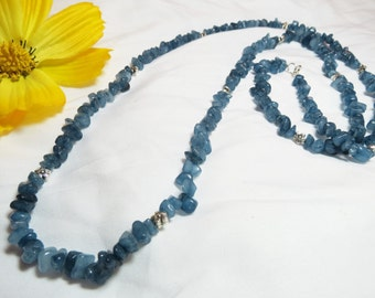 Long Blue Glass Necklace