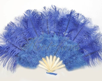 "Burlesque 21""x 38"" Navy Blue Marabou & Ostrich Feathers Hand Fan With Bamboo Staves"