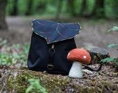 Black Leaf Mini Backpack, Women's Rucksack, Boho Festival Backpack, Waterproof Leaf Bag, Hipster Backpack, Toddler Backpack, READY TO SHIP