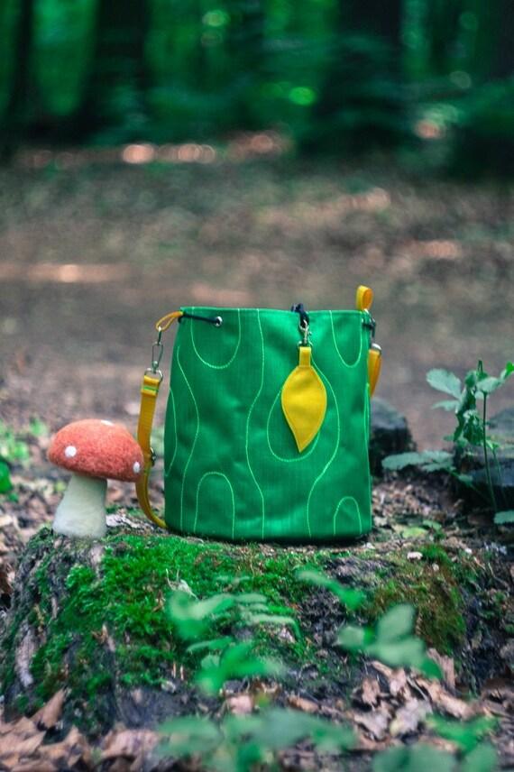 Green Bucket Bag, Mini Cross Body Bag, Boho Shoulder Bag, Festival Bucket Bag, Drawstring Cordura Bag, Log Mini Bag