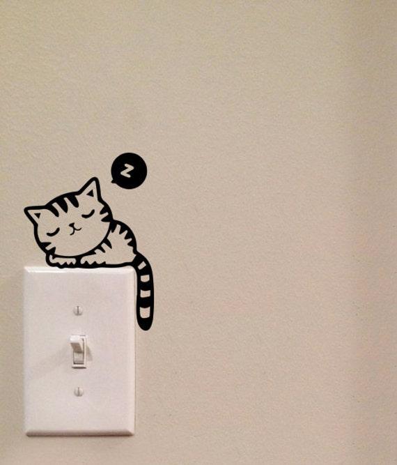 Sleeping cat light switch cute vinyl wall decal sticker art - Interruptores y enchufes ...