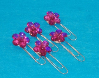 Fuchsia Acrylic Flowers Paper Clip Bookmark - Set of 5 - A Bit of Flash for your Bookmark, Thank You Gift, Scrapbooking