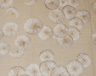 Fat Quarter Kyoto Garden Print Cotton Fabric, Tan Fabric with Kyoto Flowers - 18 Inches x 24 Inches - Quilting, Sewing, Apparel, Beads