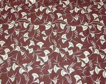 Fat Quarter Burgundy Cotton Fabric with Cream and Green Accented Morning Glories - 18 Inches x 23 Inches - Quilting, Sewing, Apparel, Beads