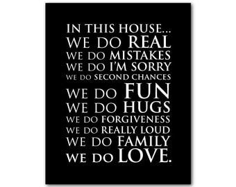 In this house we do love we do mistakes we do love quote - Family wall art - typography print - housewarming gift - wall decor