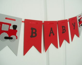 Train Baby Shower Banner, Paper and Felt Garland, Felt Train Bunting, Train Garland, Train Baby Shower Decor, Gray, Red