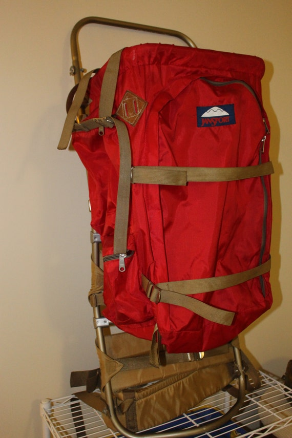 Vintage Jansport Backpack External Frame Red Pack Bag By