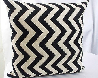 Chevron pillow cover black tan, Couch pillow, Cushion cover Zig Zag pillow cover Decorative pillows