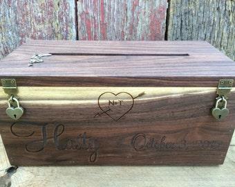 Wedding Card Box, Rustic Wedding, Wedding Gift, Card Box, Wedding Box, Rustic Card Box, Engraved, Personalized