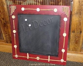 Chalkboard / Magnet Board - Painted Distressed Chalkboard - Red wall organizer