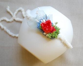Red Blue Rose Flower Baby Headband, Newborn Photo Prop Tieback, Flower Girl, Baby Tieback, Girl Hair Piece, Woodland Wedding, Baby Headband