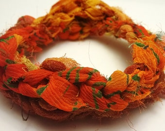 Crocheted Reclaimed Chiffon Ribbon Bracelet Warm Autumn Colors Orange, Red, Yellow