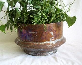 Primitive vintage COPPER bowl, 2 lbs hand wrought hammered planter, Geometric angle design, Home decor, Centerpiece, Patio porch plant pot