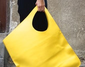 NEW Genuine Leather Yellow Bag / High Quality  Tote Asymmetrical  Large Bag by AAKASHA A14176